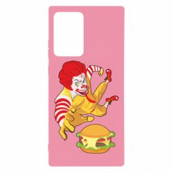 Чехол для Samsung Note 20 Ultra Clown in flight with a burger