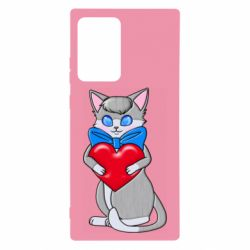 Чохол для Samsung Note 20 Ultra Cute kitten with a heart in its paws