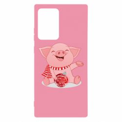 Чохол для Samsung Note 20 Ultra Funny pig with a Christmas toy