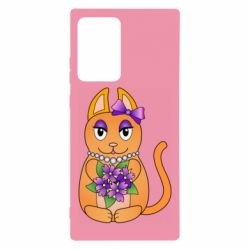 Чехол для Samsung Note 20 Ultra Girl cat with flowers