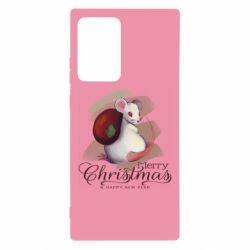 Чехол для Samsung Note 20 Ultra Merry Christmas and white mouse