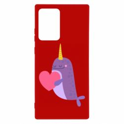 Чехол для Samsung Note 20 Ultra Narwhal with a heart