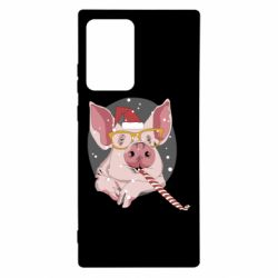 Чохол для Samsung Note 20 Ultra Portrait of the pink Pig in a red Santa's cap