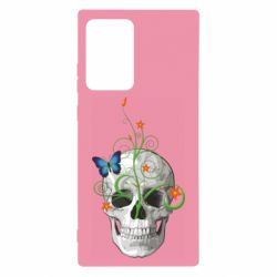 Чехол для Samsung Note 20 Ultra Skull and green flower