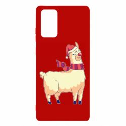 Чехол для Samsung Note 20 Yellow llama in a scarf and red nose