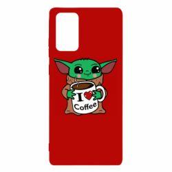 Чехол для Samsung Note 20 Yoda and a mug with the inscription I love coffee