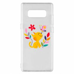 Чехол для Samsung Note 8 Cat, Flowers and Butterfly