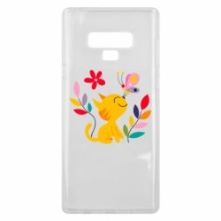 Чехол для Samsung Note 9 Cat, Flowers and Butterfly