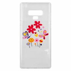 Чехол для Samsung Note 9 Flowers and Butterflies