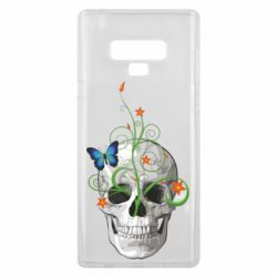 Чехол для Samsung Note 9 Skull and green flower