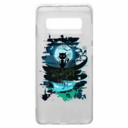 Чехол для Samsung S10+ Black cat art
