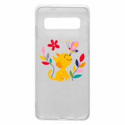 Чехол для Samsung S10 Cat, Flowers and Butterfly