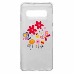 Чехол для Samsung S10+ Flowers and Butterflies