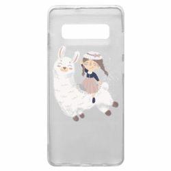 Чохол для Samsung S10+ Girl with a lama