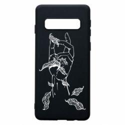 Чохол для Samsung S10 Hand with leafs