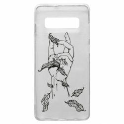 Чохол для Samsung S10+ Hand with leafs