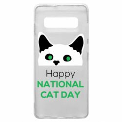 Чехол для Samsung S10+ Happy National Cat Day