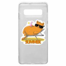 Чохол для Samsung S10+ Котик на пляжі