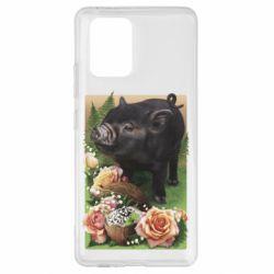 Чехол для Samsung S10 Lite Black pig and flowers