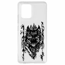 Чехол для Samsung S10 Lite Black wolf with patterns