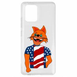 Чехол для Samsung S10 Lite Cat in American Flag T-shirt