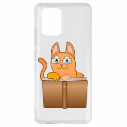 Чехол для Samsung S10 Lite Cat in glasses with a book