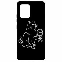 Чохол для Samsung S10 Cat with a glass of wine