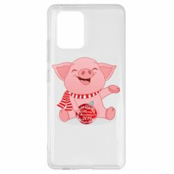 Чохол для Samsung S10 Funny pig with a Christmas toy