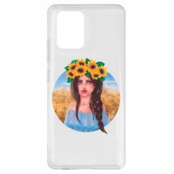 Чехол для Samsung S10 Lite Girl in a wreath of sunflowers