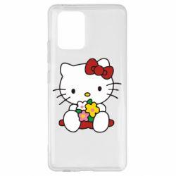 Чехол для Samsung S10 Lite Kitty с букетиком