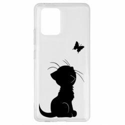 Чохол для Samsung S10 Котик з метеликом