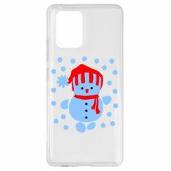 Чехол для Samsung S10 Lite Снеговик в шапке