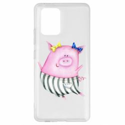 Чехол для Samsung S10 Lite Watercolor Pig with paper texture