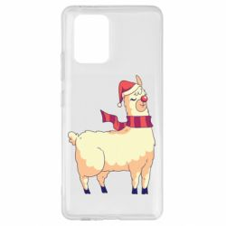 Чехол для Samsung S10 Lite Yellow llama in a scarf and red nose