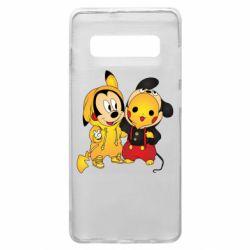 Чехол для Samsung S10+ Mickey and Pikachu