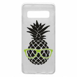 Чехол для Samsung S10 Pineapple with glasses