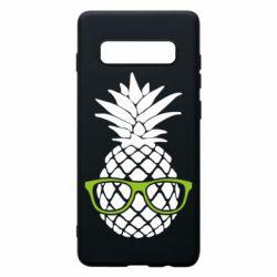 Чехол для Samsung S10+ Pineapple with glasses