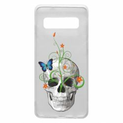 Чехол для Samsung S10 Skull and green flower