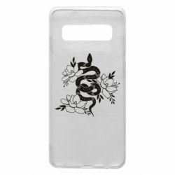 Чохол для Samsung S10 Snake with flowers
