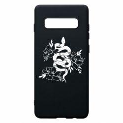 Чохол для Samsung S10+ Snake with flowers