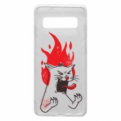 Чохол для Samsung S10 The cat is mad
