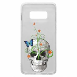 Чехол для Samsung S10e Skull and green flower