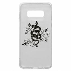 Чохол для Samsung S10e Snake with flowers