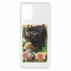 Чехол для Samsung S20+ Black pig and flowers