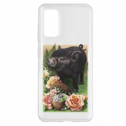 Чехол для Samsung S20 Black pig and flowers