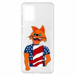 Чехол для Samsung S20+ Cat in American Flag T-shirt