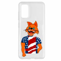 Чехол для Samsung S20 Cat in American Flag T-shirt
