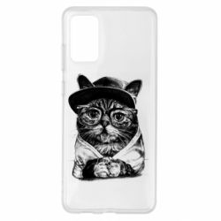 Чохол для Samsung S20+ Cat in glasses and a cap