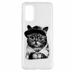 Чохол для Samsung S20 Cat in glasses and a cap