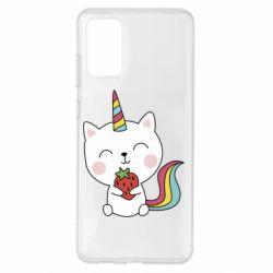 Чохол для Samsung S20+ Cat unicorn and strawberries